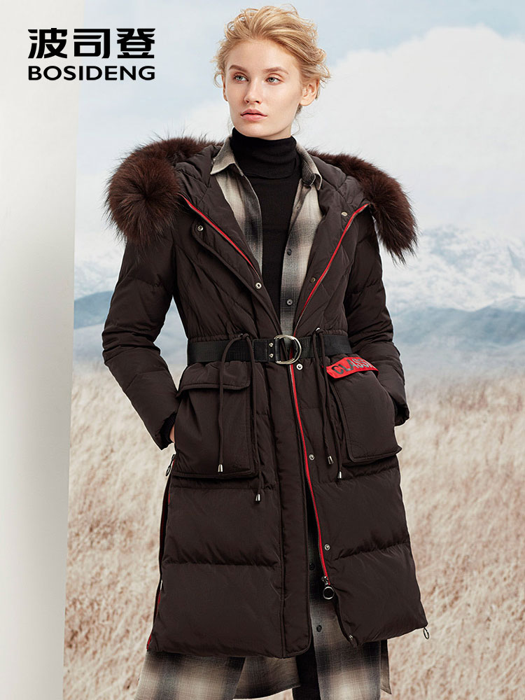 BOSIDENG women winter duck   down     coat   long   down   jacket hooded natural fur collar parka adjustable waist high waist B70141018