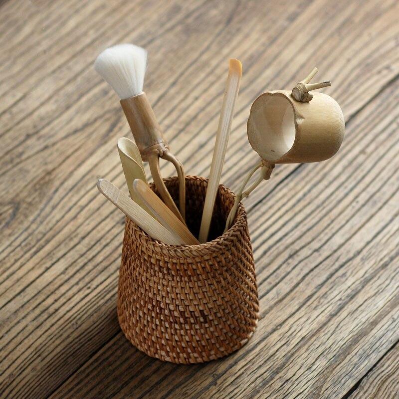 6 pièces/ensemble à la main en rotin de haute qualité chinois Kongfu thé cérémonie ustensiles ensemble bambou thé accessoires outils