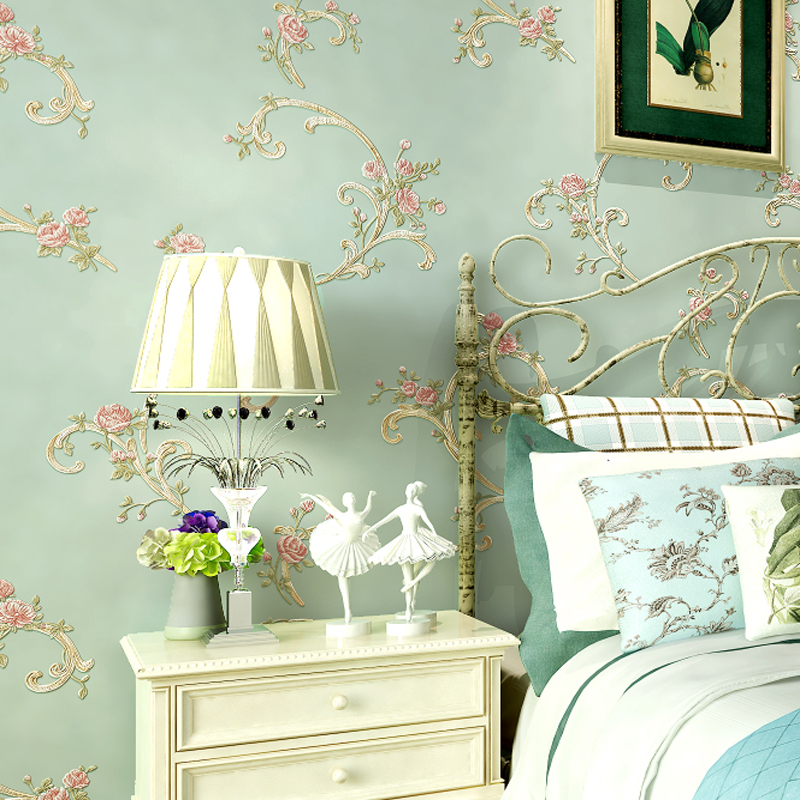 American country floral 3d wallpapers pastoral flowers for Decor papier peint mural