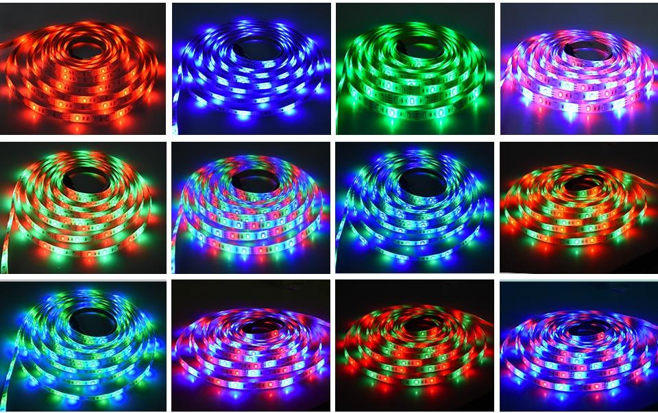 2835 SMD RGB USB charger LED Strip light DC 5V USB Cable LED Light lamp Flexible Tape 1M 2M 3M 4M 5M RF IR RGB Remote control (9)