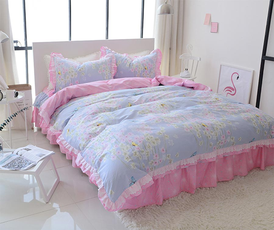 Sweet floral single double 100%cotton bedding set teen girl,twin full queen king home textile bed skirt duvet cover pillow cases