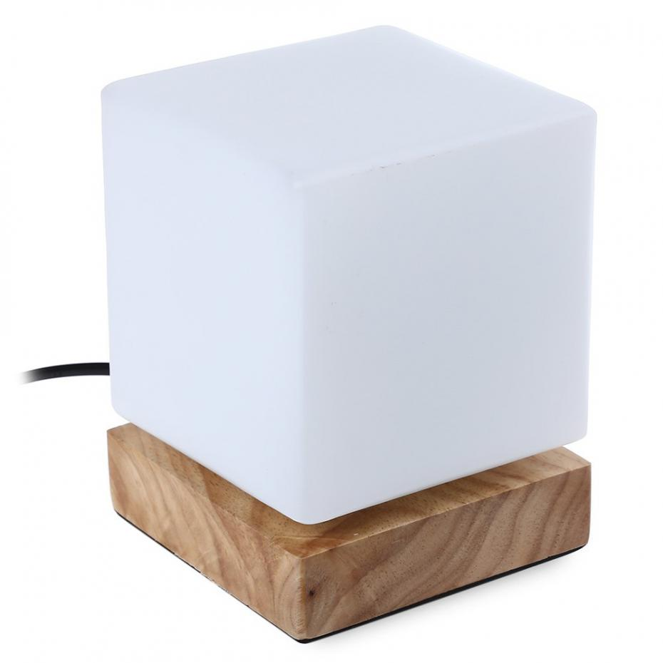Us Plug Square Shaped Led Desk Lamp Wooden Base Table Lamp Glass