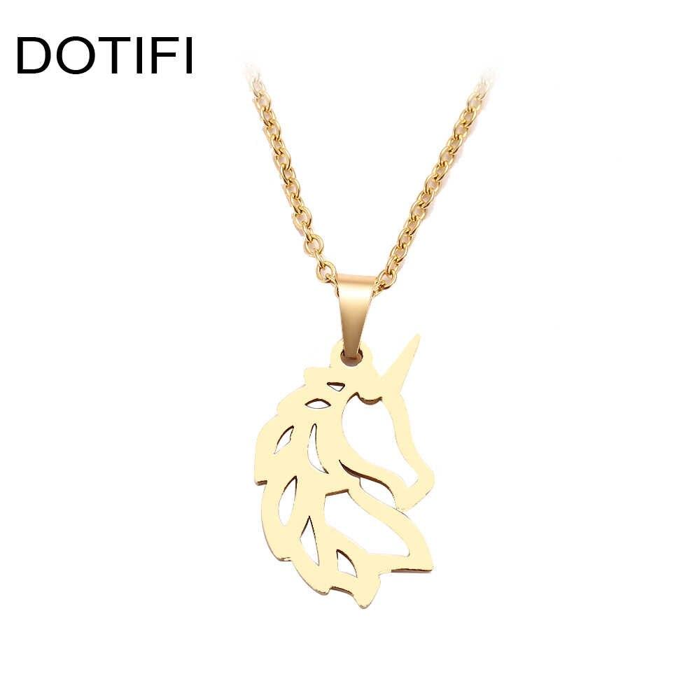 DOTIFI naszyjnik ze stali nierdzewnej dla kobiet Man szlachetny koń złoty i srebrny kolorowy wisiorek naszyjnik biżuteria zaręczynowa