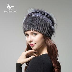 Image 2 - 女性の本物のミンクの毛皮の帽子女性の冬のレックスウサギローズ花エレガントな高級 2019 ウォームニット帽子 skullies ビーニー
