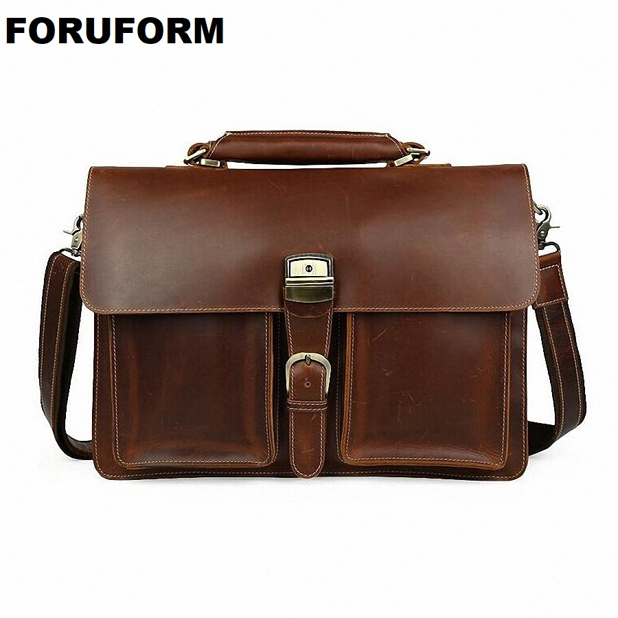 Новый Для мужчин Бизнес Портфели 16 дюймов Сумка для ноутбука Пояса из натуральной кожи высокое качество офис Конференц рабочая сумка Форма