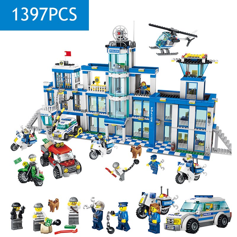 New Hot LegoINGLYS City Police Station Architecture Model Technic Building Blocks Mini Action Figures Bricks Enlightening Toys loz mini diamond block world famous architecture financial center swfc shangha china city nanoblock model brick educational toys