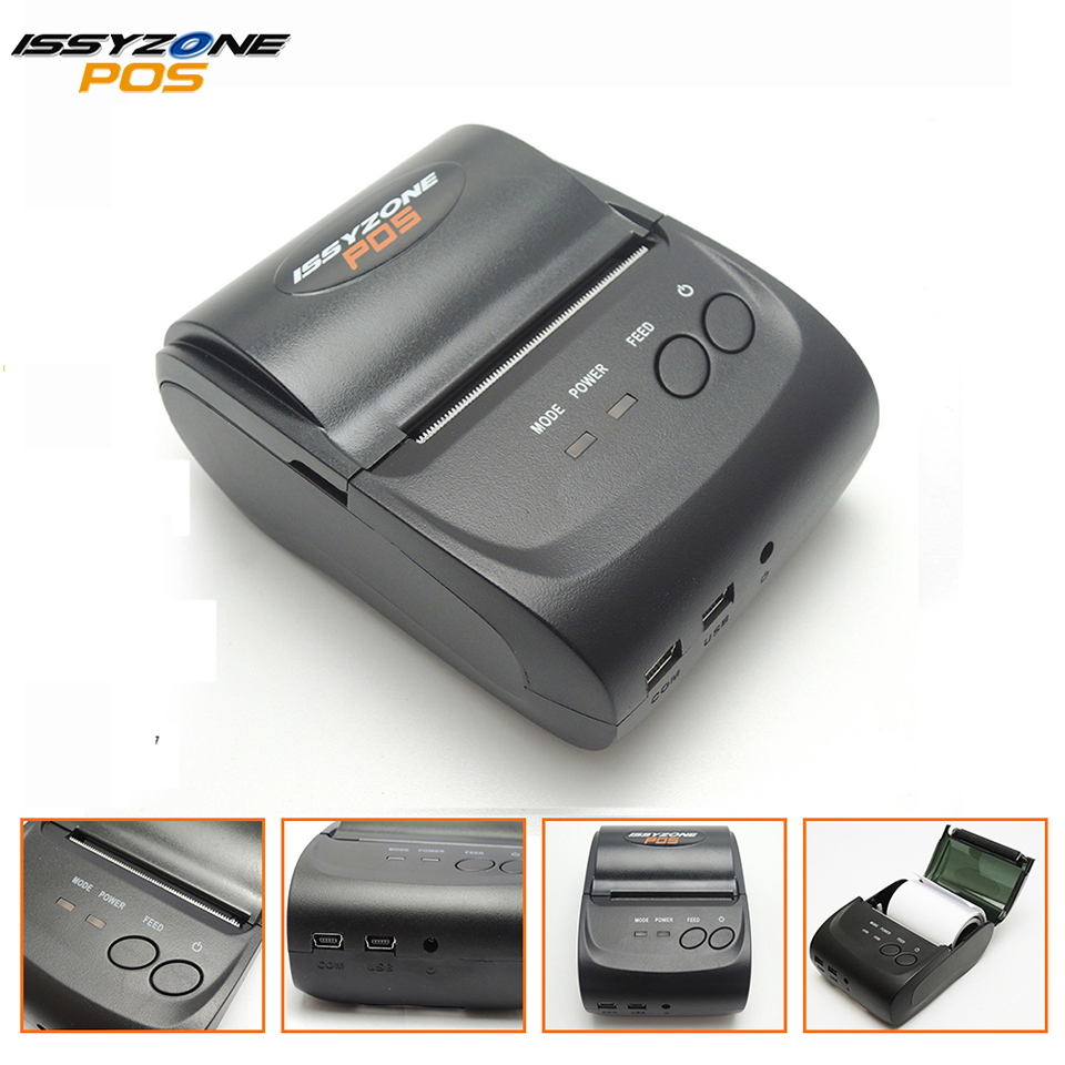 Issyzonepos 58mm bluetooth thermal receipt printer mini portable android ios mobile pos printers free sdk for window android ios