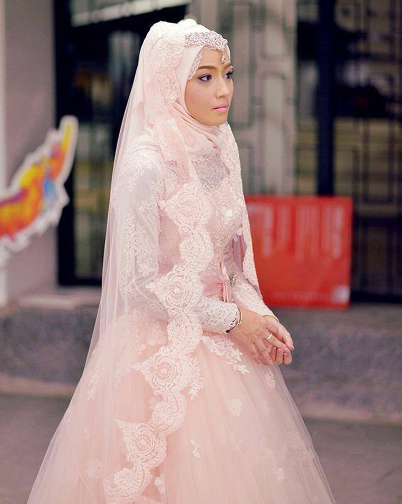 Y High Neck Floor Length Long Sleeve Blush Pink Muslim Wedding Dresses Ball Gowns Liques Bow Sashes A Line In From Weddings