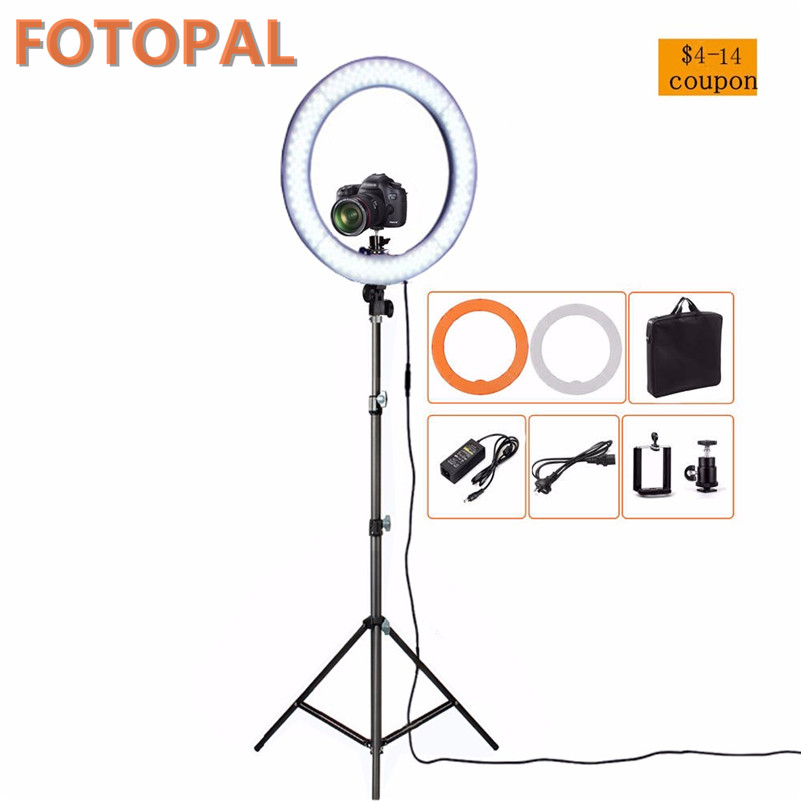Fotopal 36W 18 inch LED Photographic Ring Light Dimmable Photo Studio Phone Video Lighting For DSLR Camera Youtube With Tripods cononmark 400ws g4 0 hss photographic studio outdoor strobe flashlight 3g remote video light for dslr camera