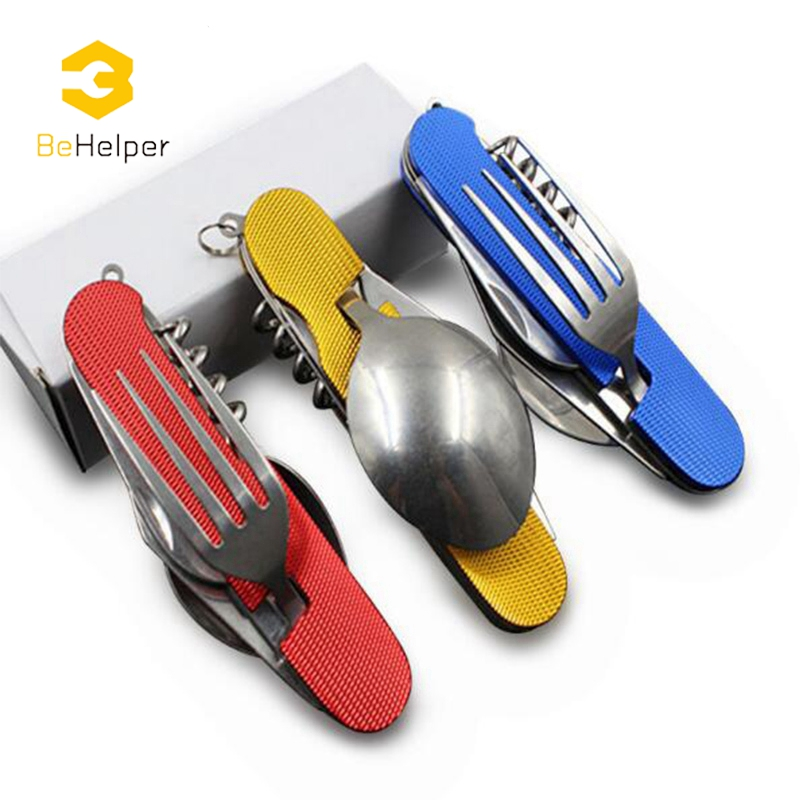 BeHelper Portable Folding Blade knife Set Stainless Steel Fork Spoon Knife Kit ,Outdoor Camping Picnic Detachable Tableware 4 pcs stainless steel tableware fork knife spoon set