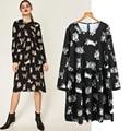 Women Autumn Casual Party Dresses Cat Printed Cartoon Black Dress Ladies Loose Draped Long Sleeve Dress