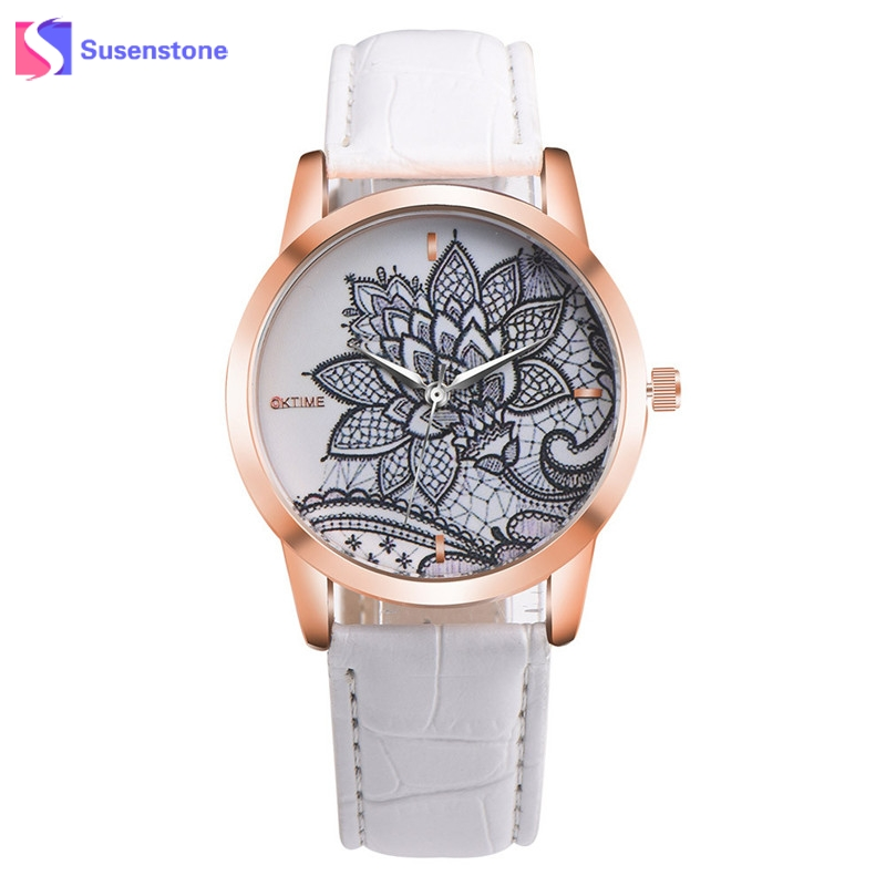 2017 New Arrival Women Fashion Leather Band Analog Quartz Wrist Watch Flower Printed Casual Womens Watches Relogio Feminino new fashion women retro digital dial leather band quartz analog wrist watch watches wholesale 7055