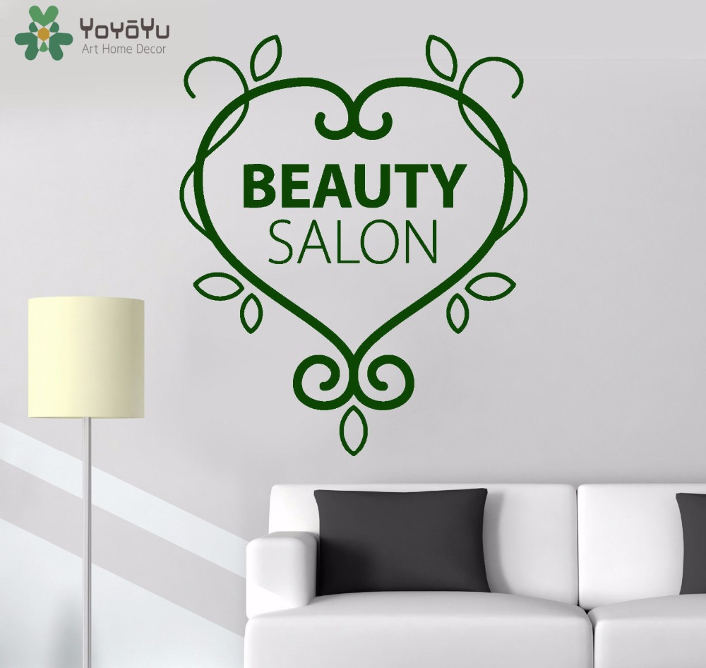 YOYOYU Wall Decal Girls Beauty Salon Vinyl Wall Stickers Quotes Wallpaper Interior Design Heart Pattern Art Mural DIY DecorSY926 in Wall Stickers from Home Garden