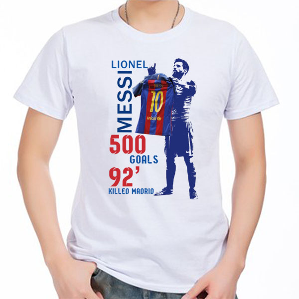 reputable site 5822b 3609f US $13.29 5% OFF|2019 Lionel Messi 500 GOALS Barcelona TO Madrid Men's  Short sleeve t shirt Argentina 100% cotton t shirt jersey fans for shirt-in  ...