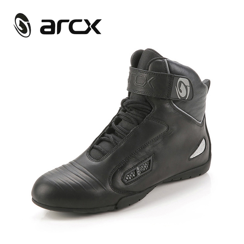 ARCX Motorcycle Road Racing Boots Genuine Cow Leather Chopper Cruiser Touring Street Moto Biker Motorbike Riding Ankle Shoes off road lightweight breathable motorcycle road racing shoes boots genuine pro biker motorcycle riding boots