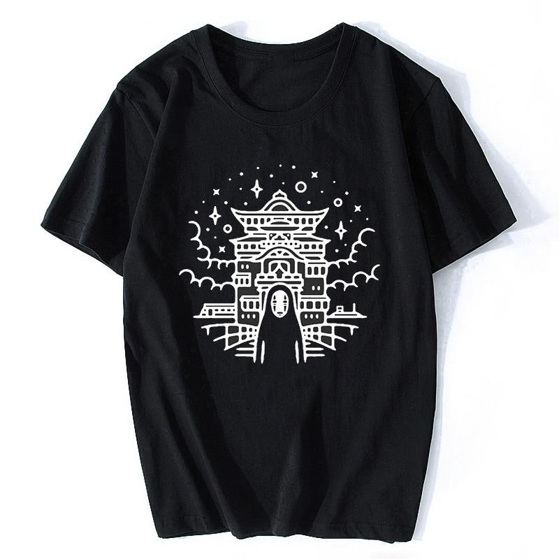 Miyazaki Hayao Spirited Away No Face Man T Shirt For Men Boys Cotton Short Sleeve  Summer Harajuku Streetwear T-Shirt