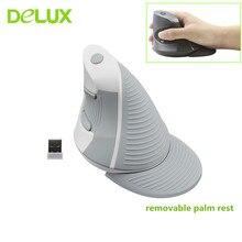 Вертикальная мышь Delux M618 Беспроводной эргономичная Вертикальная Мышь 6 кнопок 800/1200/1600 Точек на дюйм Оптическая мышь компьютерная игровая мышь для ПК, ноутбука, для офиса