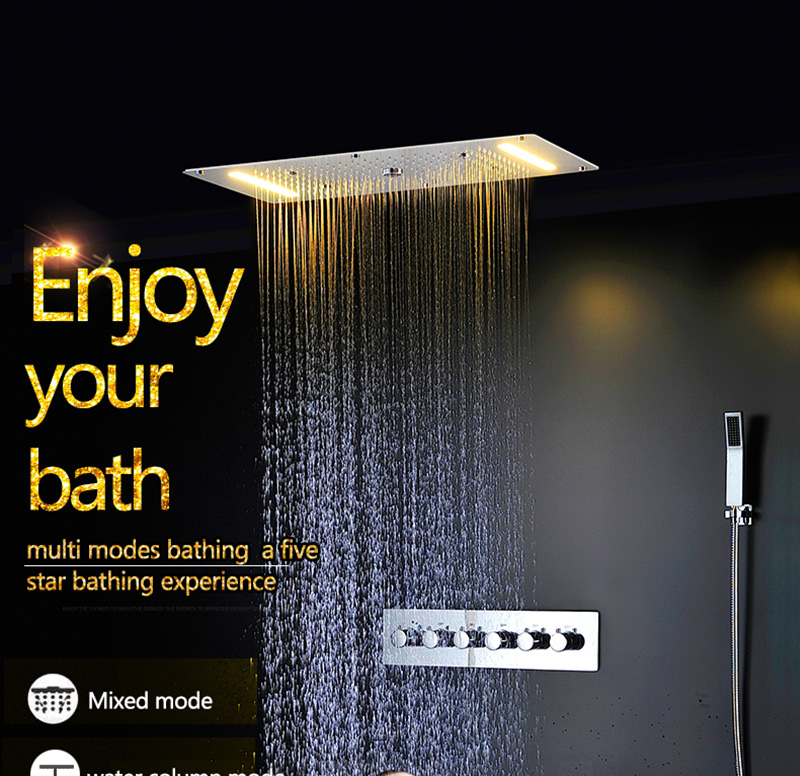 Luxury Shower Set Accessories Ceiling Multifunction Led Strip Shower Head Set with Rainfall Waterfall Spray Mist Water Column (1)