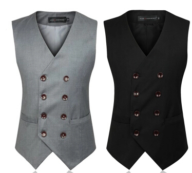 Colete Masculino Mens Double Breasted Vest Men Dress Suit Vest  Men Formal Black Gtrey Vest Suit Gilet Vest Double Beasted