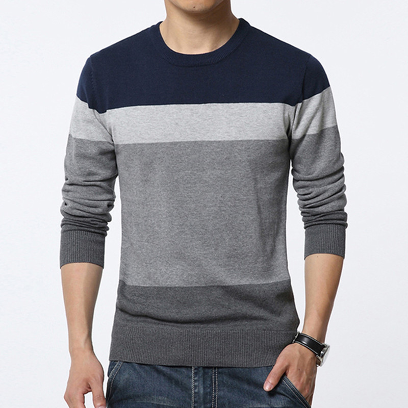 2019 New Sweaters Men Autumn Winter Hot Sale Patchwork Knitted Quality Pullover Men O-neck Casual Men's Sweater Plus M-3XL