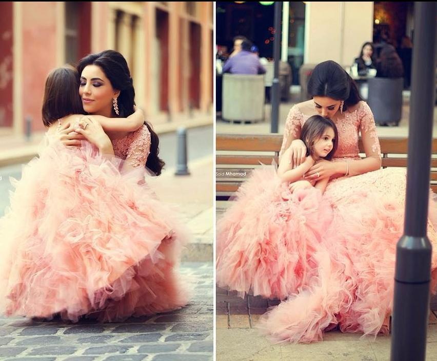 Mère maman et fille robes mariage famille Look ensemble maman et moi robe fleur fille rose soirée robe sirène pour la fête - 3