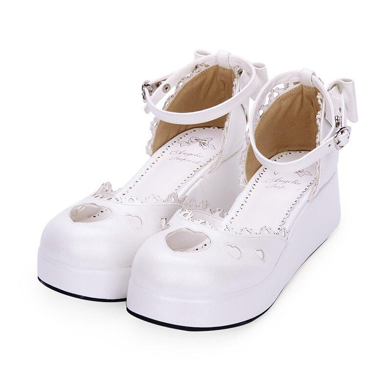 15d0be54b0806 Partie Compensées Empreinte blanc Femme Angélique D âge Robe Femmes Fille  Coeurs Talons Lolita Mori Princesse Chaussures Belle ...