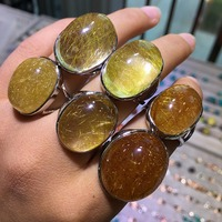 Natural Quartz Rutilated Stone Solid Silver 925 Rings Women Large Natural Crystal Stone Real 925 Sterling