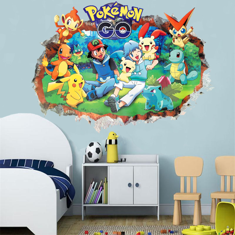 3d Pokemon Go through wall stickers for kids room Charmander Bulbasaur Squirtle Mewtwochild wall decals cartoon Pikachu posters ...