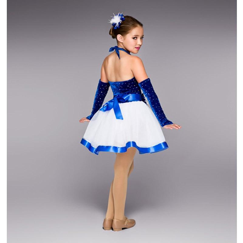 Robe de ballet de jazz de velours bleu de paillettes d'enfants avec la fleur de tête de gant, costumes de danse de jazz pour la robe de tulle de partie d'enfants de filles - 2
