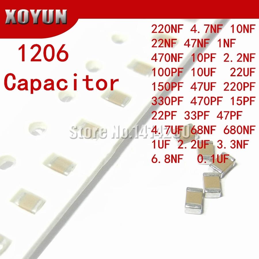 100pcs 10PF-47UF 1206 SMD 250V X7R Error 10% 10uf 106K  0.1UF 1UF 47UF 2.2UF 22UF 1UF Ceramic Capacitor MLCC 106 476K 104K 105K