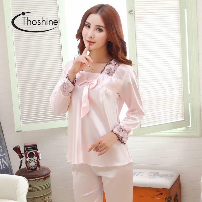 Thoshine 2017 Spring Autumn Chinese Satin Silk Pajamas Sets of Sleepcoat   Pants  Female Nighty Sleepwear Lady ... 0e2dbe017