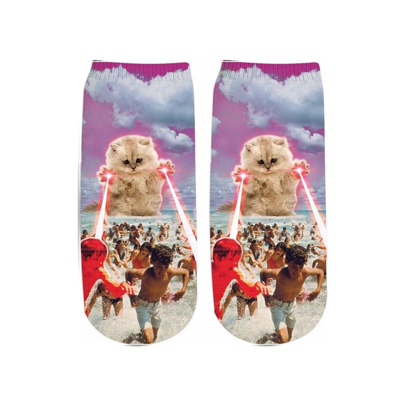 PLstar Cosmos 2019 New 3D Printed Animal space Cat eating pizza cute cotton short ankle socks for Men Women harajuku korean sock 2