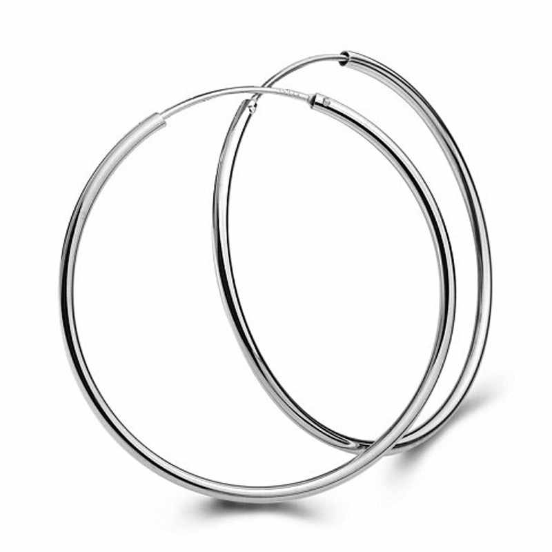 1 Pasang Dropshipping Besar Halus Telinga Besar Ring Clear Circle Ring Pesona Anting-Anting Orecchini Mar19