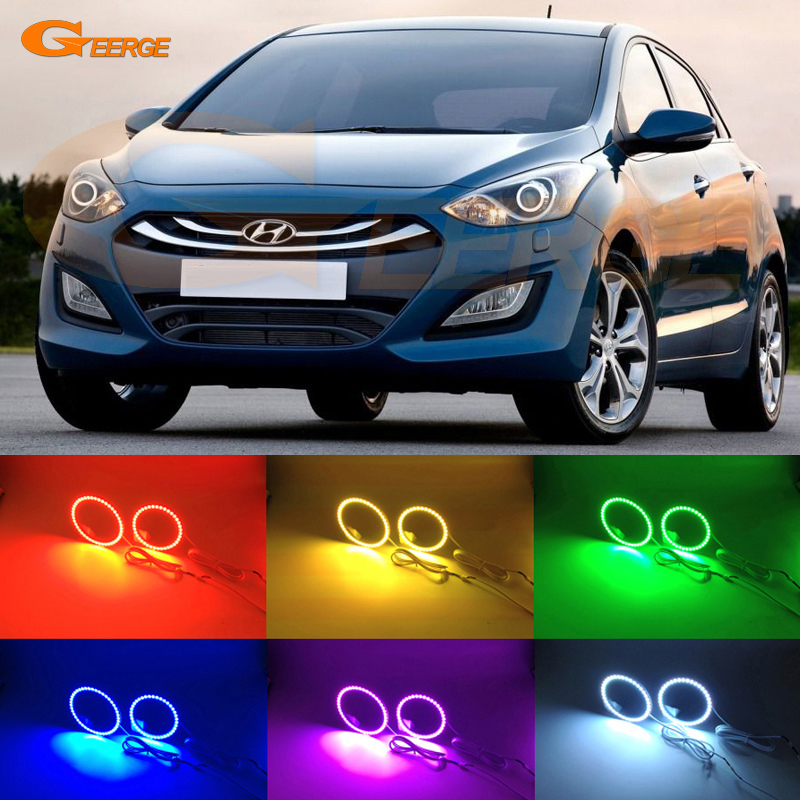 For HYUNDAI I30 GD 2012 2013 2014 2015 2016 Excellent angel eyes Multi-Color Ultra bright RGB LED Angel Eyes kit halo rings for lifan 620 solano 2008 2009 2010 2012 2013 2014 excellent angel eyes multi color ultra bright rgb led angel eyes kit