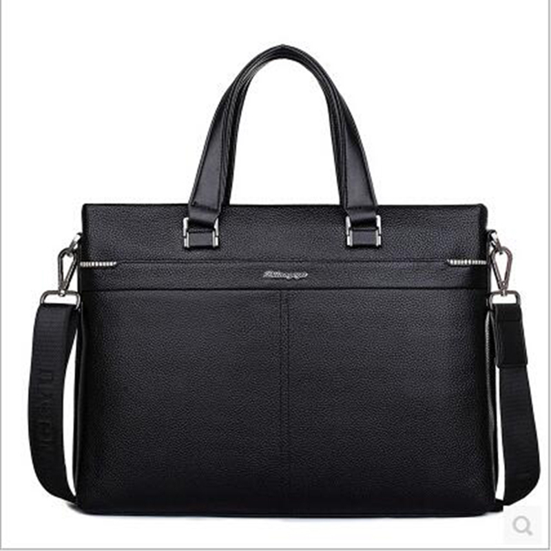 2018 Hot Mens Bag New Handbag Male Genuine Leather Business Briefcase Men Laptop Bag Zipper Big Capacity Man Shoulder Bag