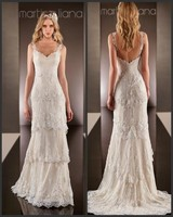 Sexy Beach 2018 Lace Vestido De Noiva V Neck Beaded Spaghetti Straps Tiered Sweep Train Bridal gown mother of the bride dresses