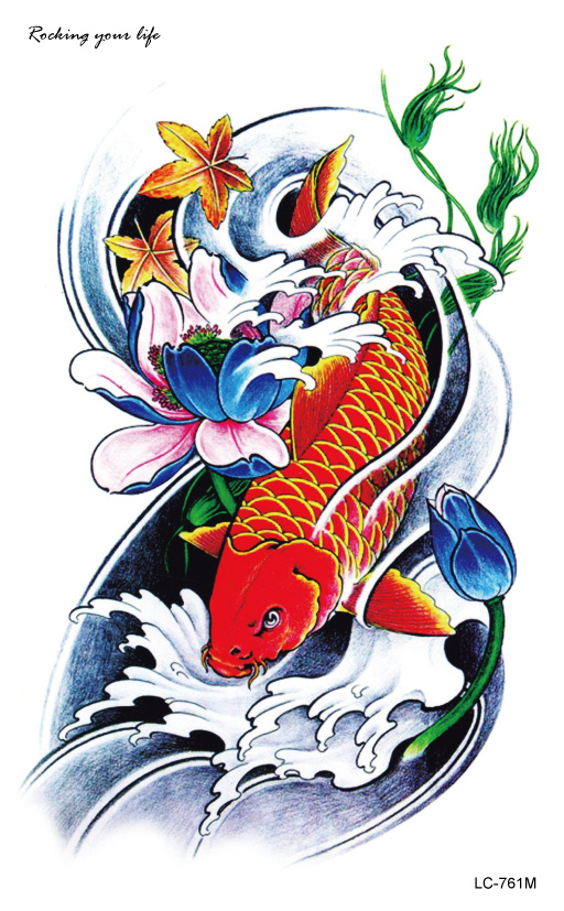 55bf593bc3a97 LC2761M 21X13cm Large Flash Tatoo Sticker Red Golden Fish Drawing Designs  Cool Temporary Tattoo Stickers for