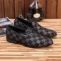 Nueva Marca Para Hombre de la Boda Vestido de Zapatos de Cuero Genuinos de Los Hombres Mocasines Zapatos Formales de Negocios De Lujo Italiano Fumar Zapatillas Planos de Los Hombres
