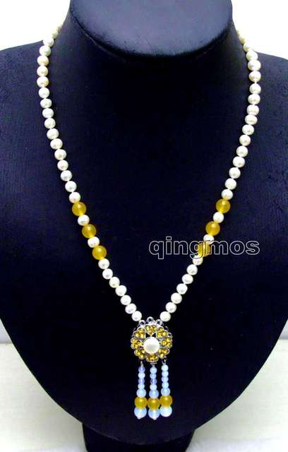 "SALE 6-7mm White Round Natural Freshwater Pearl with 25mm Yellow Pendant 20"" necklace-nec6087 wholesale/retail Free shipping"