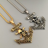 Nautical Jewelry Anchor Charm Pendant Cross Necklaces Men's Hip Hop Anchor Necklaces Skeleton Skull Tag Pendant Chain Necklaces