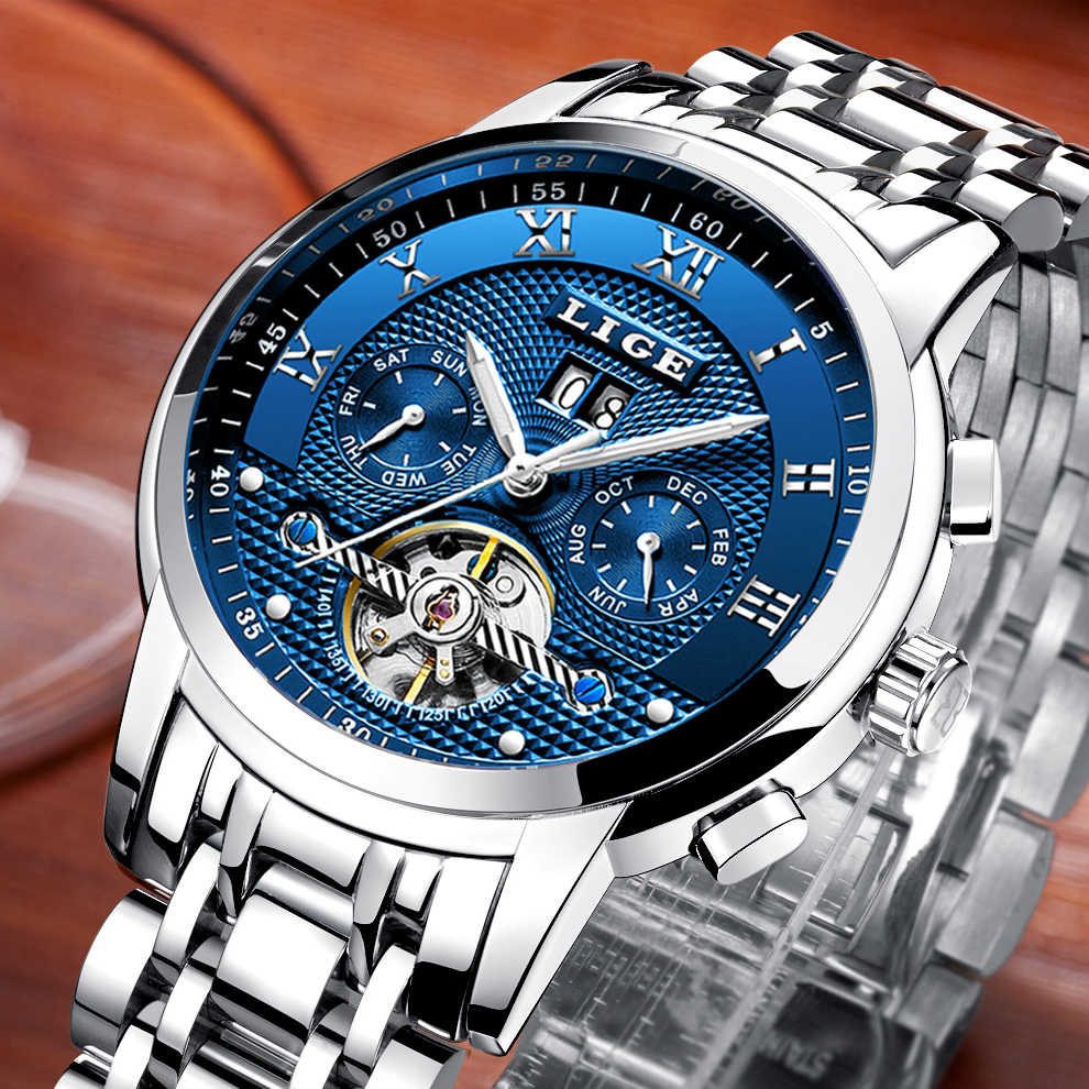 LIGE 2019 New Men Watch Top Brand Luxury Business Automatic Machinery Men's Watches Full Steel Waterproof Man Clock Watchs box