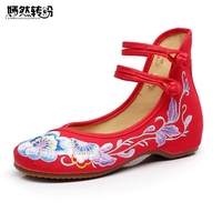 Wegogo Women Shoes Flats New National Handmade Canvas Embroidered Ballerina Shoes For Women Single Zapatos Planos