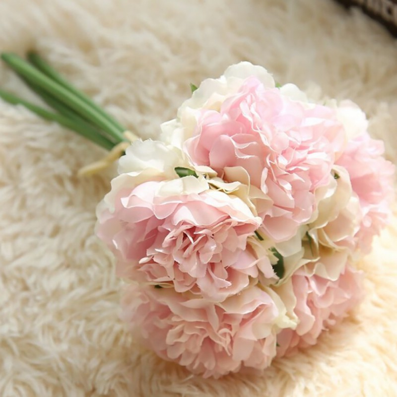 1 Pcs Hand holding Peony flower Artificial flowers Lovely Cute Artificial Wedding Bridal Bouquet Party Home Decor
