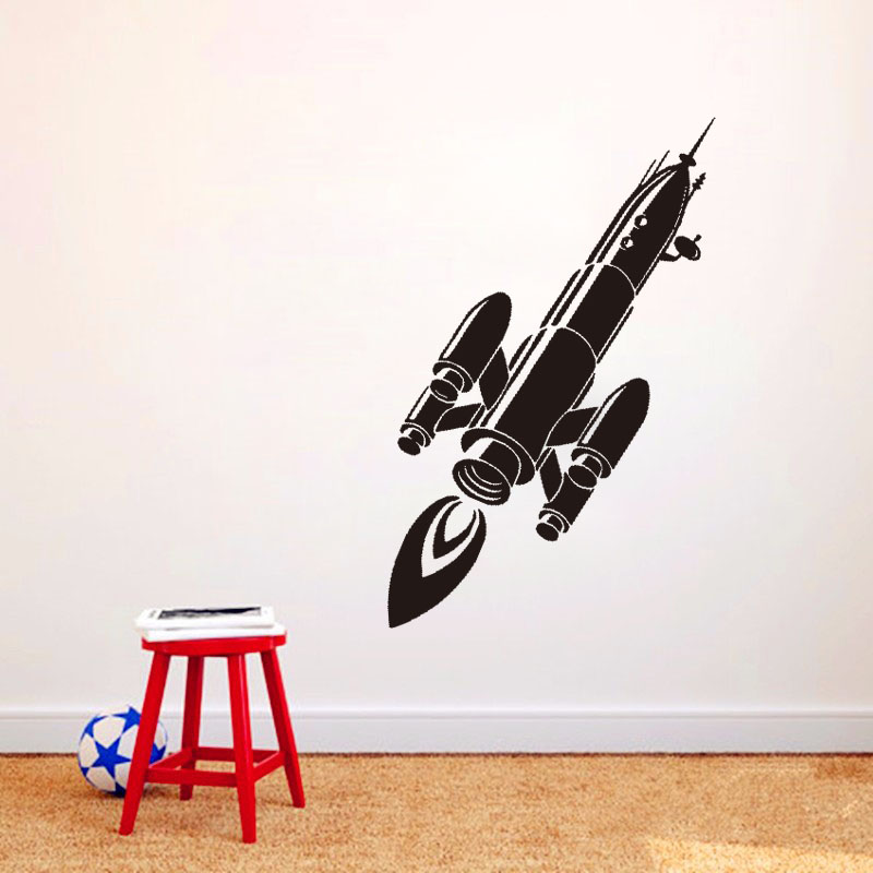 Rocket Wall Stickers Pvc Removable Transfer Wall Decals