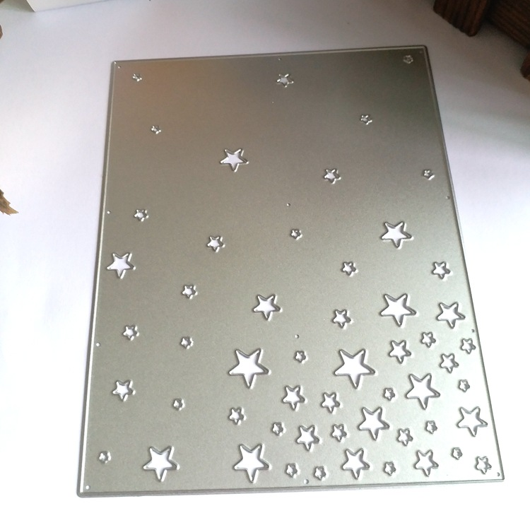Stars Background Cover Cutting Die Clear Stamp Frame Rectangle Scrapbooking Decorative Dies Embossing DIY Paper Cards