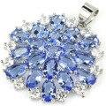 Fashion Rich Blue Violet Tanzanite, CZ SheCrown Woman's Created Silver Pendant 34x28mm
