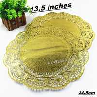 (100 pieces/pack) 13.5 inches golden color round paper lace doilies bread placemats wedding place mat party tabletop accessories