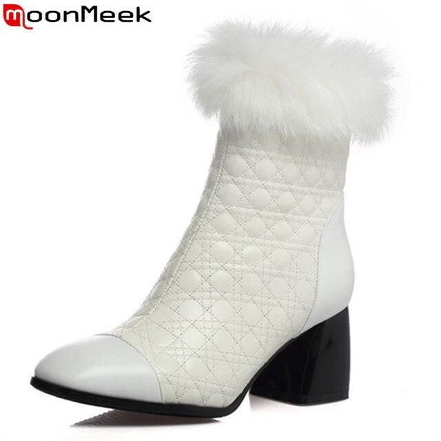 watch 70cee 7c91d US $49.92 48% OFF|MoonMeek mode frauen stiefel schwarz weiß karree  reißverschluss aus echtem leder damen stiefel elegante solid color  stiefeletten in ...