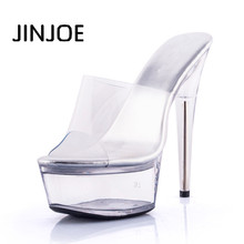 2017 summer sexy high heels Crystal shoes Transparent high-heeled slippers Fish mouth type Party  transparent platform