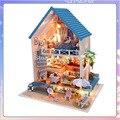 13830 Hongda DIY casa de bonecas de madeira casa grande casa de boneca em miniatura com luzes LED brinquedos de férias